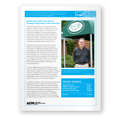 Case Study: Small-town Café Cooks Up Hot Savings Using Energy Trust Incentives